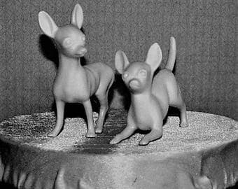 Vintage Chihuahua Dog Couple cake topper. White matt glaze that compliments your celebration. Retro 1960s.