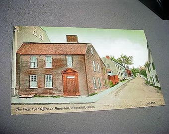 Original, Antique Postcard The First Post Office In Haverhill, HAVERHILL, MASS. Circa. 1915