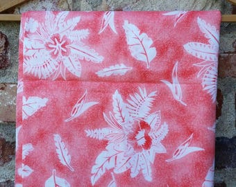 Peach and White Tropical Fabric, Hawaiian Tropical Floral, Fabric by the Yard, sewing supply, textile, material.