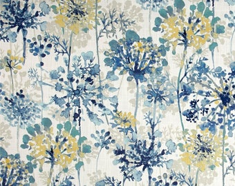 Blue Floral Valance / Custom Boutique Window treatment Curtain / Bathroom, Bedroom, Living room, Sun room