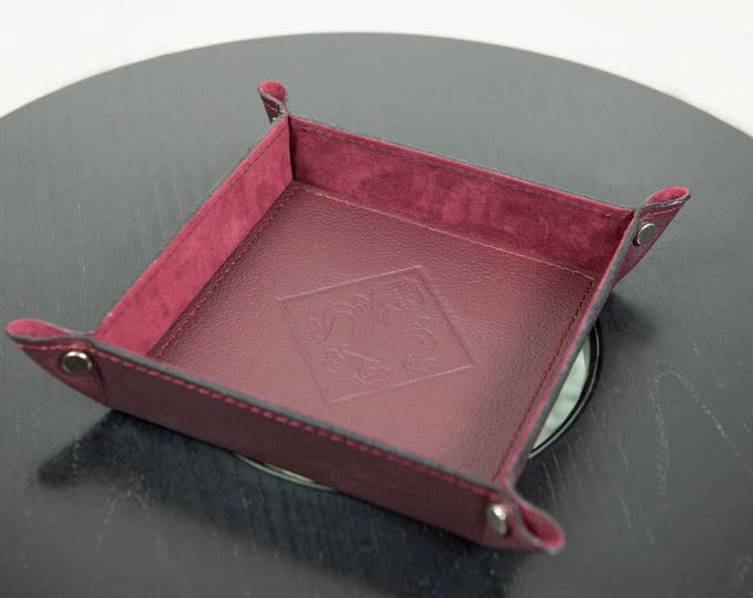 Burgundy Leather Valet Tray / Customizable