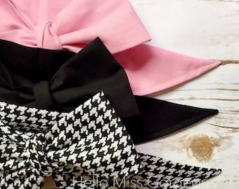 Gorgeous Wrap Trio (3 Gorgeous Wraps)- Ballet Pink, Noir & Noir Houndstooth Gorgeous Wraps; headwraps; fabric head wraps; bows
