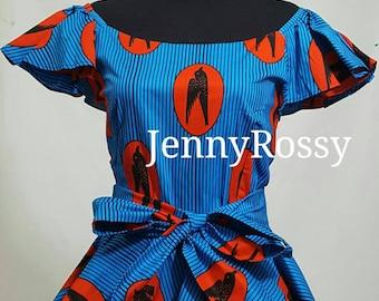 Stylish   African print  ruffle  Ankara  peplum Top with sash African  Clothing