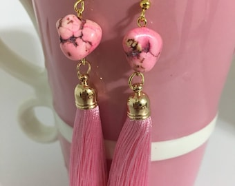 Pink Tassel Earrings, Valentine's Day Earrings, Valentine's Day Gifts, Galentine's Day, Valentines, Howlite Nugget Stone Earrings,