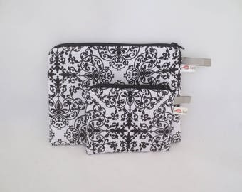 Handbag or pouch + wallet black and white