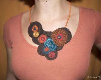 Brown embroidered felt 2 bib necklace