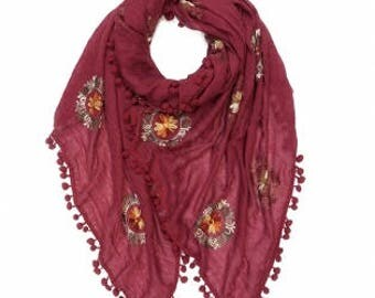 Beautiful Pompom Embroidery Scarf
