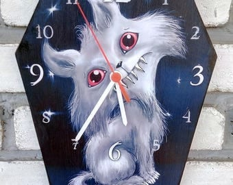 Wooden wall Cute creepy cat. Handmade wall clock. Coffin shaped. Gothic decoration.