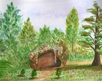 """Watercolor landscape """"Cave"""""""