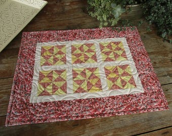 Farmhouse Quilt Runner, Small Rectangle Chic Quilt, Quilted Table Topper, Doll Quilt, Feminine Mothers Day Gift, Pink Yellow Mini Patchwork