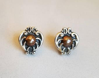 Early Vintage Mexico Silver 925 and Copper Ball Earrings - Copy of Margot De Taxco Hearts 5210
