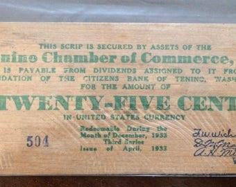 Tenino wooden money, wooden money, collectible wooden money, rare coins, collectible coins, vintage, 1933, money, Tenino Washington