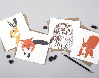 Card pack - Woodland Animals - Blank cards - Letterpress Cards - Card Set - Woodland Animal Prints - Greetings cards - Forest Animals - Cute