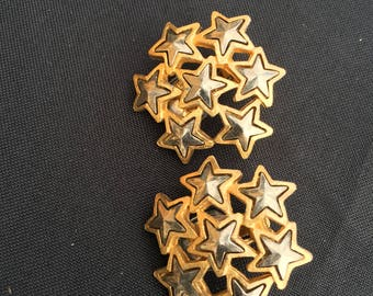 Vintage Gold Star Cluster Clip-on Earrings