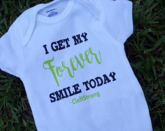 Cleft Strong Bodysuit, Forever Smile Bodysuit, I Get My Forever Smile Today, Surgery Day Bodysuit, Forever Smile Cleft, CleftStrong Bodysuit