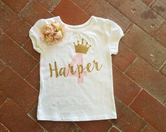 4 Year Old Girls Pink and Gold Birthday Outfit Shirt, Fourth Personalized Shirt Birthday, 4 Year Old Girl Birthday Shirt