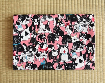 french bulldog fabric 1/2 yard pink