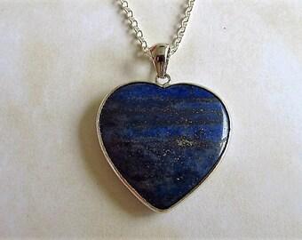 "Lapis Lazuli pendant-sterling silver mount-sterling silver chain-heart shaped Lapis Lazuli-1""x 1""-"