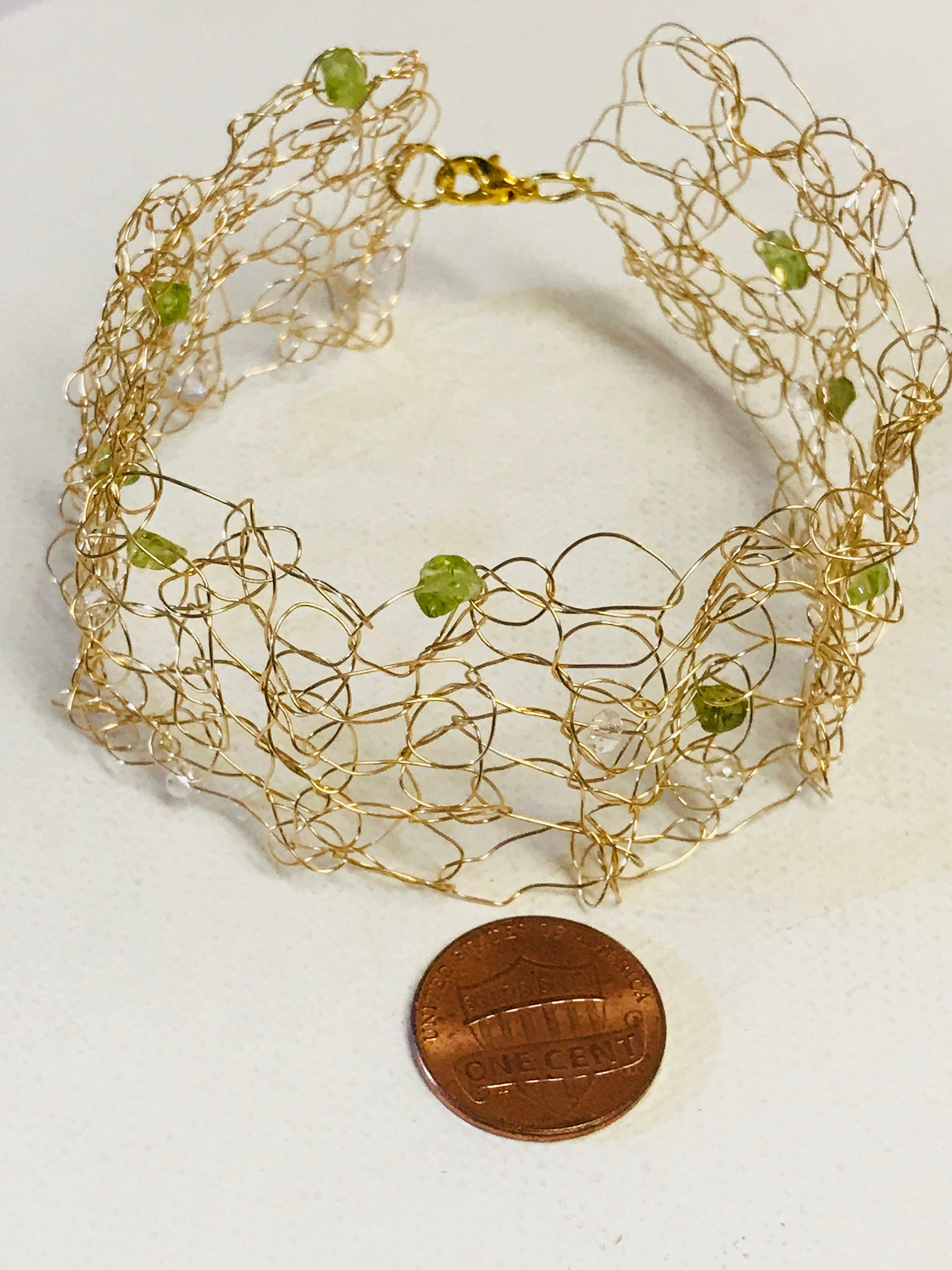 August Birthstone Peridot And Crystals Gold Wire Crochet Bracelet ...