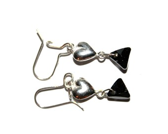 Special St. Valentine's day earrings silver elegant love
