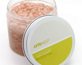 Lemon & Lime Natural Pink Himalayan Salt Body Scrub with Avocado Oil, Vitamin E and Coconut Oil.
