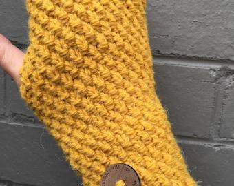 Handmade yellow Handwarmers, Fingerless gloves, wristwarmers, yellow gloves, mens gloves, ladies mustard alpaca gloves, knitted mittens