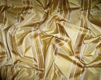 LEE JOFA KRAVET Couture Collins Stripes Silk Damask Fabric 10 Yards Honey Gold Amber