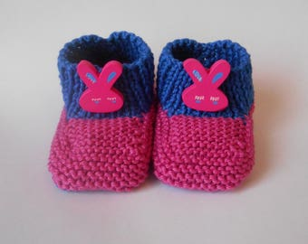 Two-tone pink and blue Easter bunny slippers
