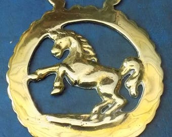 Rare vintage HORSE BRASS Horse Rampant Style Design Made in England