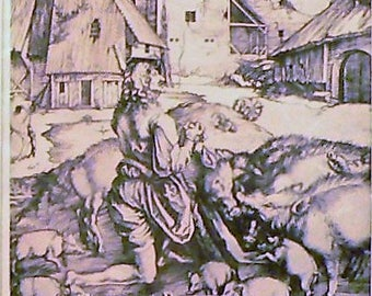 1936 Unique Depiction of the Prodigal Son Matted Vintage Print