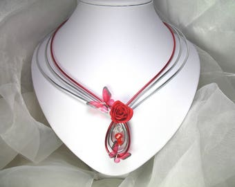 Red aluminum Jalissa wire necklace
