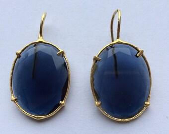 Blue Stone Silver Earrings.