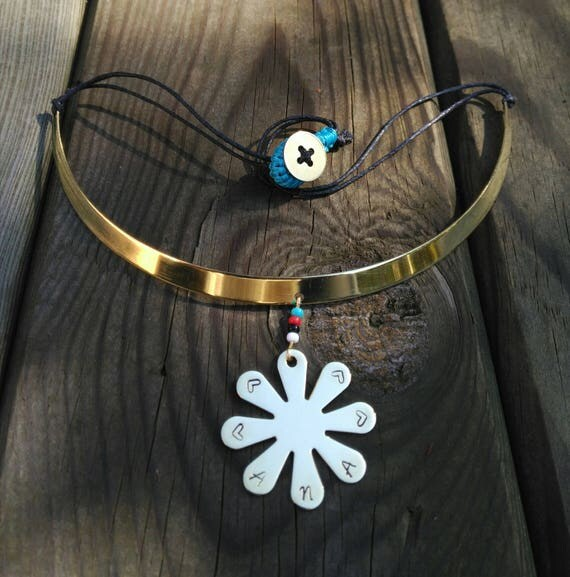 CHOKER NECKLACE brass FLOWER