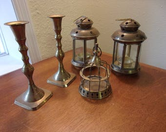vintage brass,(5) pieces,candle stick holders,tea candle hanging lanterns,small birdcage,star cutouts,etched stars,glass doors,home decor