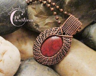 MADE TO ORDER - Oxidized Copper Wire Woven & Brecciated Jasper Mini Pendant