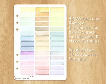 42 Rainbow Eventboxes or Banners, Made With Watercolor, Fitting A5 Planners
