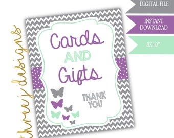 Butterfly Baby Shower Gift and Card Table Sign - INSTANT DOWNLOAD - Gray, Lavender and Mint - Digital File - J005
