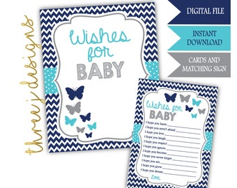Butterfly Baby Shower Wishes for Baby Cards and Sign - INSTANT DOWNLOAD - Navy Blue, Teal and Gray - Digital File - J007