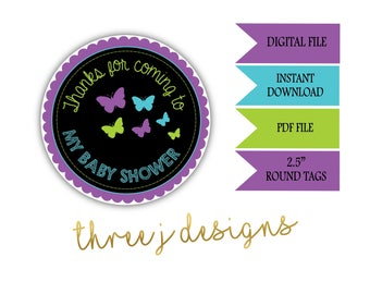 Butterfly Baby Shower Thank You Favor Tags - INSTANT DOWNLOAD - Purple, Teal and Green - Digital File - J006