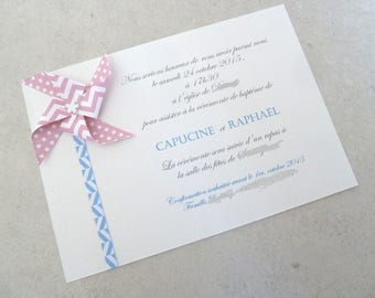 Baptism - windmill chevron pink/blue for boy-girl announcements.