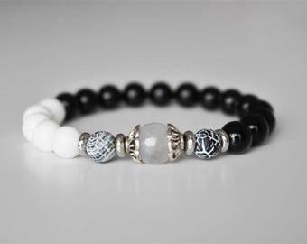 Stone bracelet, onyx, shellstone, agate