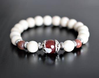 Bracelet, white fossil stone, agate, natural stone