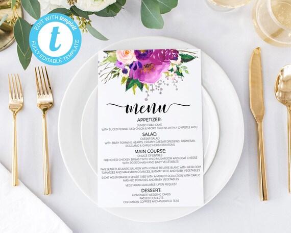 Wedding Menus Printable Menu Roses Cards Card