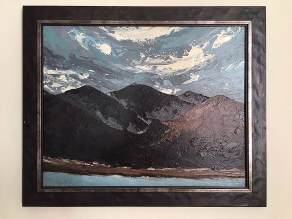 Welsh Kyffin Williams school oil on canvas by Owen Meilir mountain landscape high impasto
