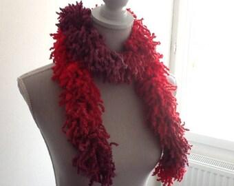 Scarf... handmade ruffled red burgundy wool scarf