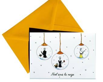 Folded Christmas card, envelope yellow.