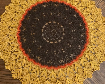 Hand Crocheted Sunflower  Inspired Table Center.