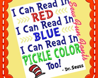 I Can Read In Red I Can Read In Blue I Can Read In Pickle Color Too Reading Saying ~ Subway Art Machine Embroidery Design, INSTANT DOWNLOAD