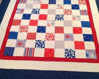 Red, white, and blue patchwork Americana patriotic quilt