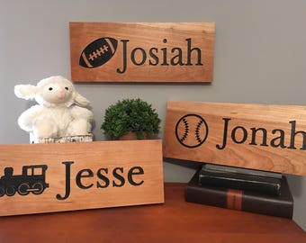 Nursery Sign-Boys Room-Kids Wooden Name Sign-Name Sign-Engraved, Hand Painted Sign, Nursery Decor-Cedar Sign-Personalized Design